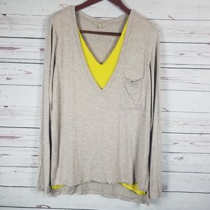 Bordeaux Medium Tan Yellow V-neck Long Sleeve Top